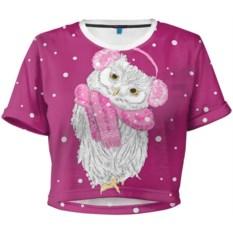 Женская укороченная 3D футболка Сова