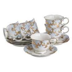 Чайный набор София золотая, голубой с золотом