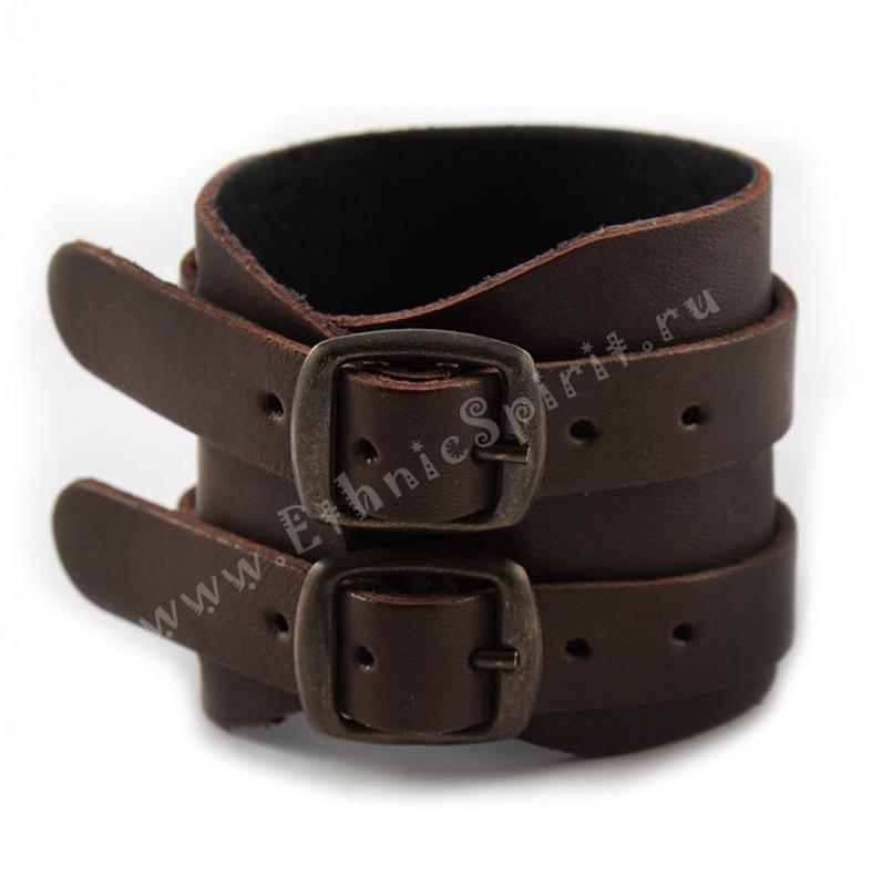 Элитный коричневый кожаный напульсник с двойной застёжкой
