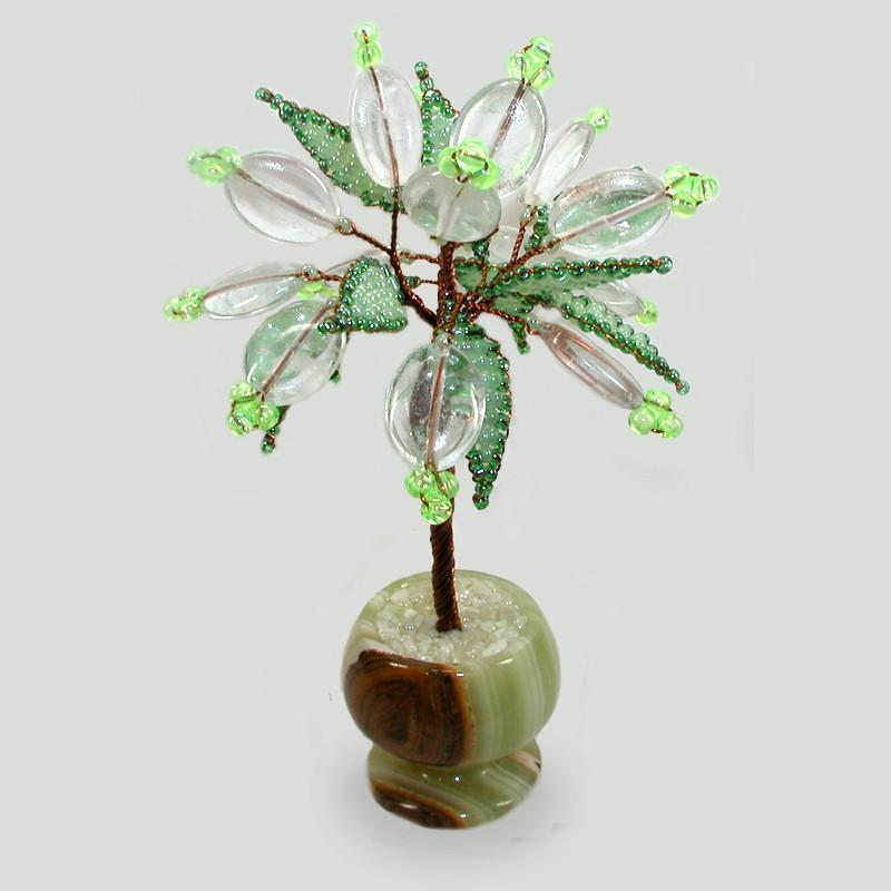 Миниатюрное дерево счастья из флюорита в вазочке из оникса