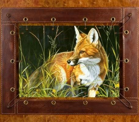 Картина из кожи Лисица
