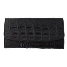 Фактурный кошелек из кожи крокодила черного цвета