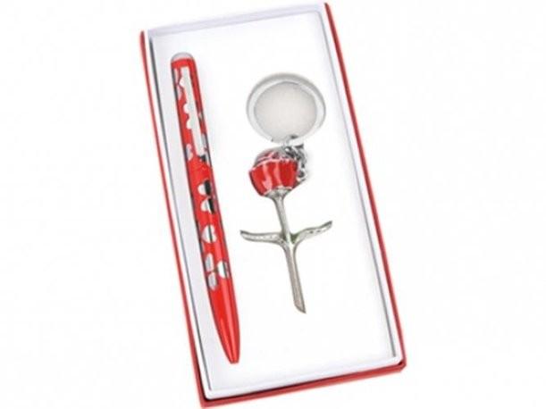 Набор: шариковая ручка, брелок с шильдом «Роза»