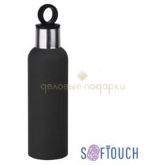 Черная термобутылка «Силуэт» с прорезиненной поверхностью