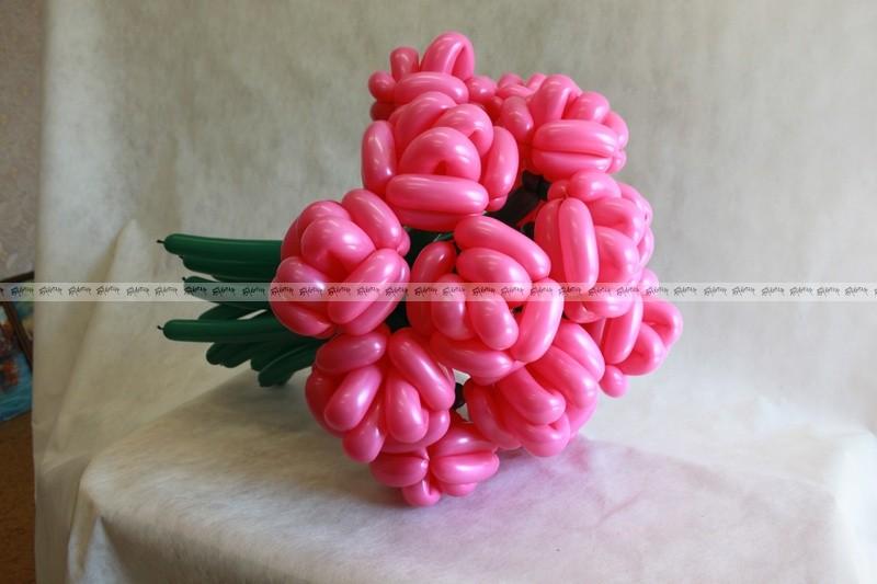 Розы Розовые огромный букет из шаров - 23 штуки