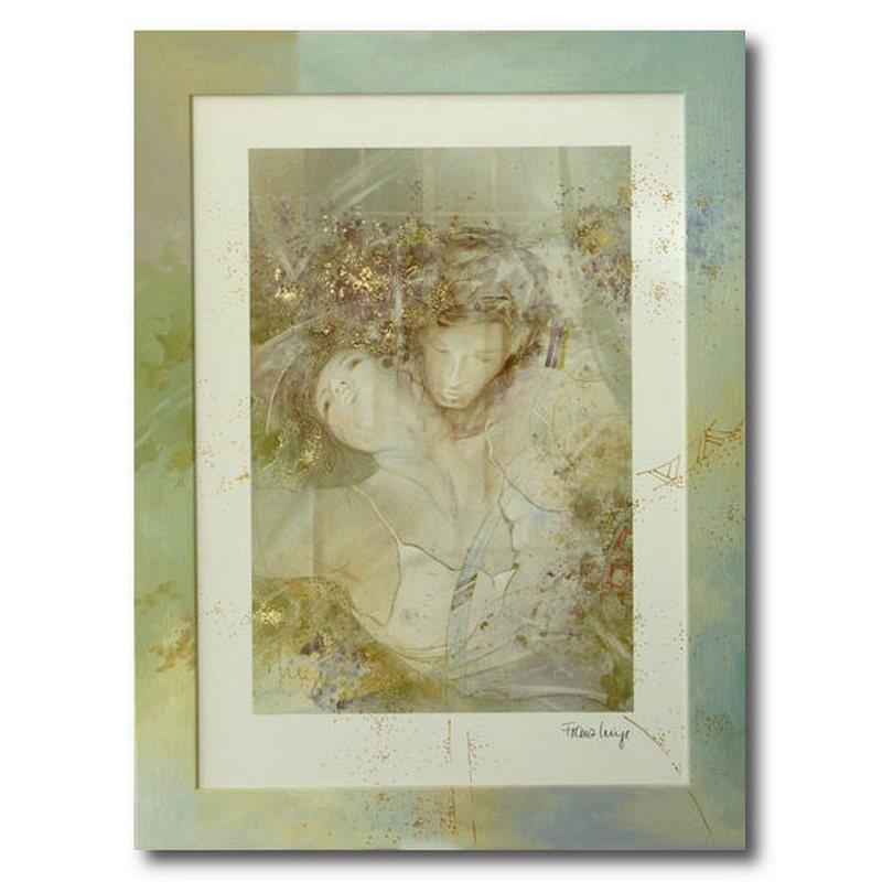 Репродукция с подрисовкой на раме Влюбленная пара