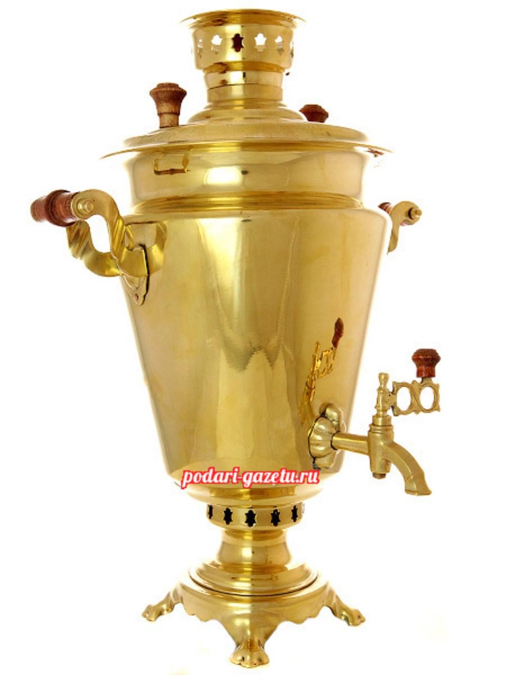 Комбинированный самовар (электрический/угольный) на 7 литров, желтый конус