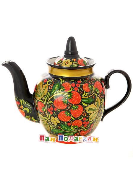 Заварочный чайник Черный фон. Хохлома классическая