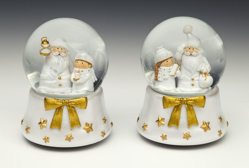 Уотерболл музыкальный  Дед мороз со снегурочкой, золотой