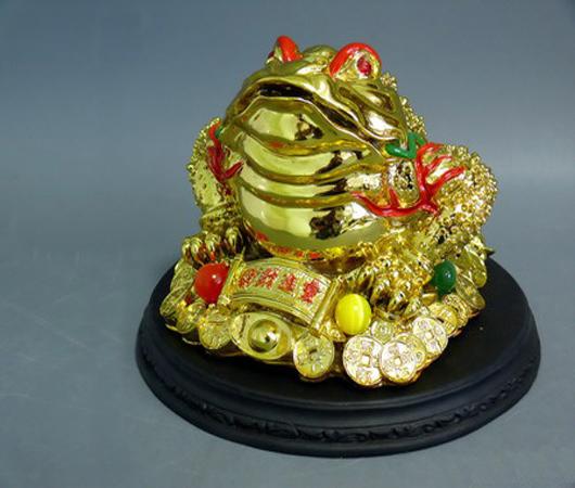 Фигурка со стразами жаба золотая