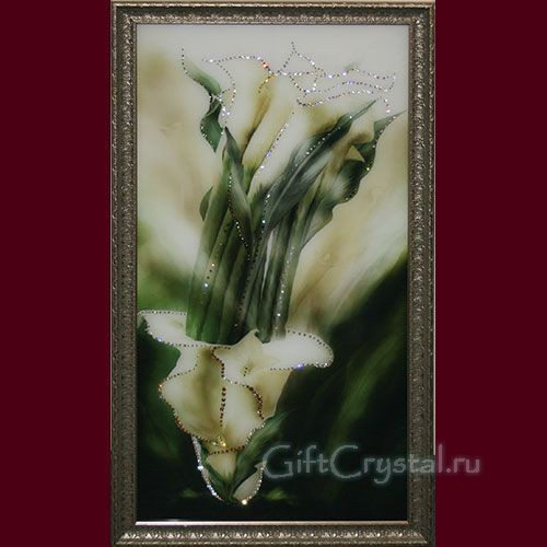 Картина со стразами Каллы (серебро)