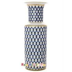 Цилиндрическая фарфоровая ваза Кобальтовая сетка