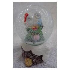 Водяной шар со снегом Совушки с подсветкой