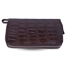 Коричневый кошелек-клатч из крокодиловой кожи на 2-х молниях