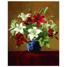 Картина-раскраска по номерам на холсте Букет лилий