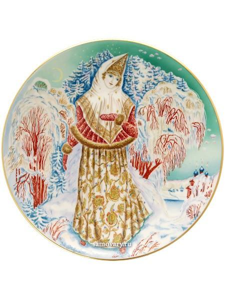 Декоративная тарелка с росписью Снегурочка