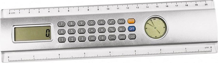 Линейка с часами и калькулятором