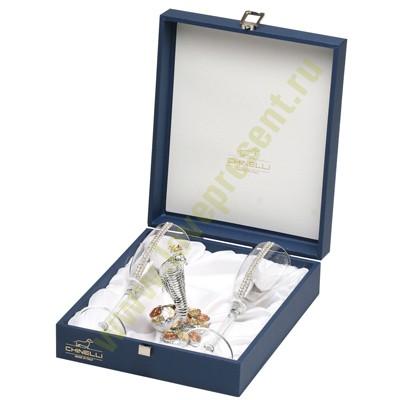 Питейный набор «Серебряная змея» с двумя бокалами