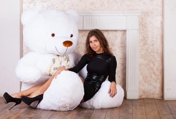 Плюшевый мишка Потап (белый), 220 см.