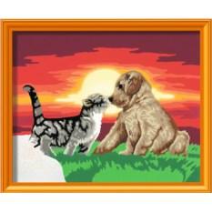 Раскраска по номерам Ravensburger Котенок и щенок