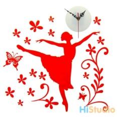 Часы - наклейки на стену Балерина