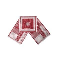 Красный рушник для каравая Птица с кружевом