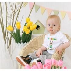 Детская именная футболка Мальчик-зайчик