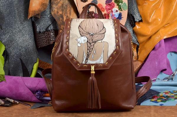 Дизайнерский коричневый кожаный рюкзак Девушка с котёнком