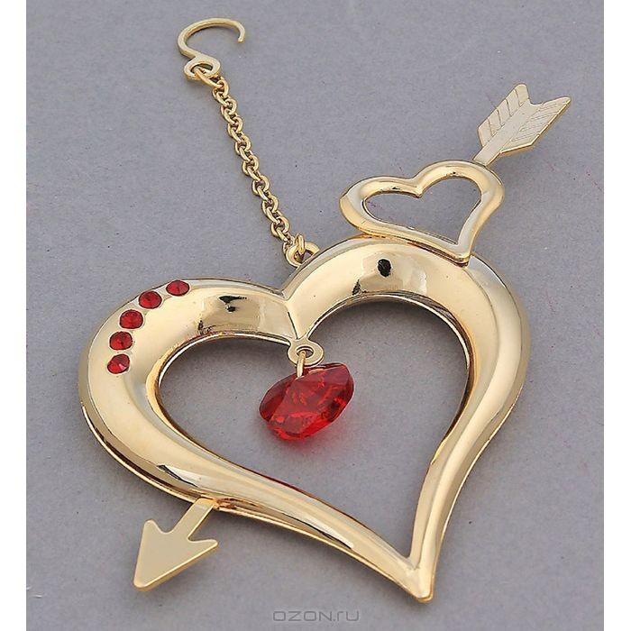Фигурка декоративная Сердце со стрелой, цвет: золотистый