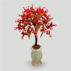 Дерево успеха из красного коралла в вазочке из оникса