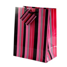 Бумажный ламинированный пакет (цвет — розово-черный)