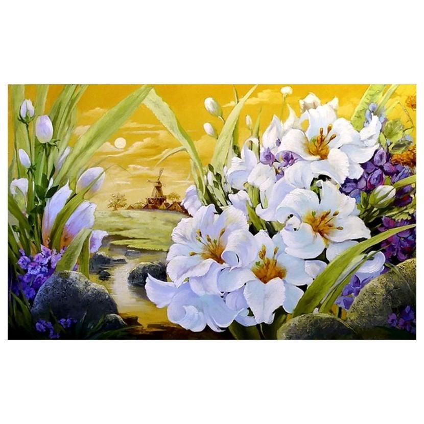 Картина-раскраска по номерам на холсте Цветы у воды