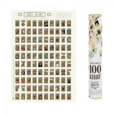 Оригинальный постер со стирающемся слоем 100 книг