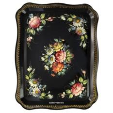 Поднос с росписью Полевые цветы на черном фоне