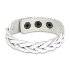 Кожаный белый браслет Косичка