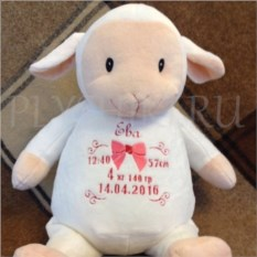 Мягкая именная игрушка Овечка с вышивкой