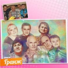 Портрет на холсте по фото в стиле Гранж Большая семья