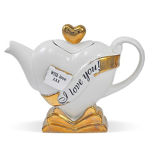 Чайник Горячее сердце (кремовый)