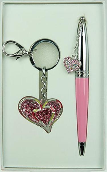 Подарочный набор Сердце с ручкой и брелоком