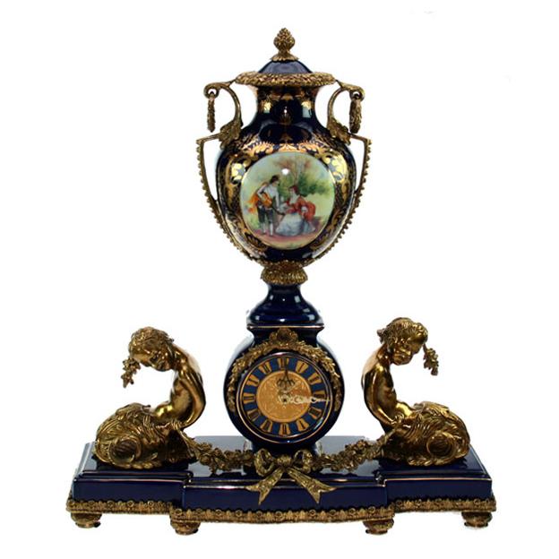 Часы каминные (фарфор, бронза) 40 см