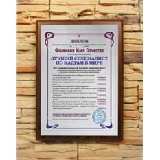Подарочный диплом Лучший специалист по кадрам в мире
