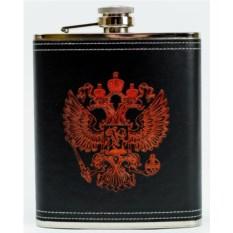 Черная кожаная фляжка с красным гербом