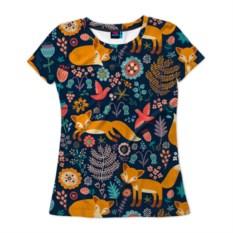 Женская футболка 3D Лисички паттерн
