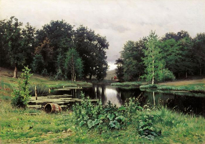 Репродукция картины Волкова «Пейзаж с прудом»