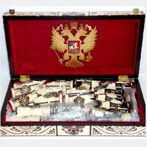 Шахматы деревянные резные Витязи с пиками