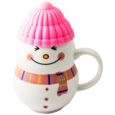 Кружка Снеговик розовый