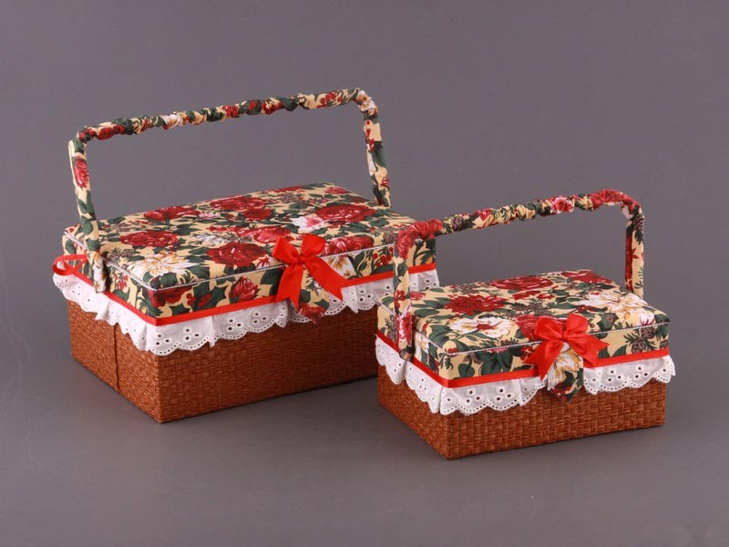 Набор шкатулок для рукоделия из 2 шт. (красный габилен)