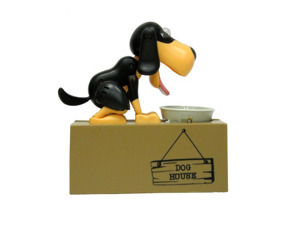 Интерактивная копилка Голодный Пес (черный, коричневая морда)