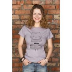 Серая женская именная футболка Котик