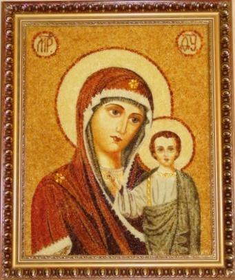 Икона из янтаря Пресвятая Божья Матерь Казанская